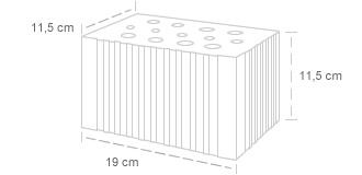 Tijolo 13 furos | Dimensões: 11,5 x 11,5 x 19 cm